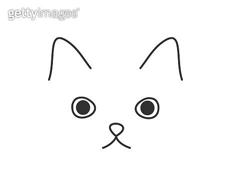 Cute cat face doodle drawing.