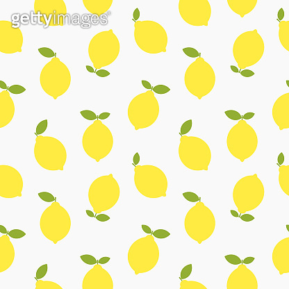 Yellow lemons seamless flat summer pattern.