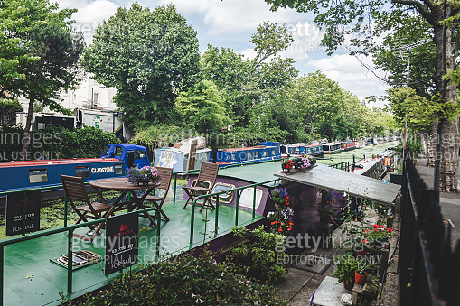 Narrowboats moored along the Regents Canal in Little Venice, London