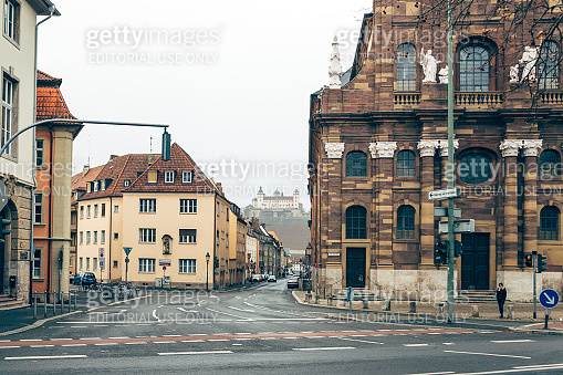 Empty streets of the city of Wurzburg, Germany