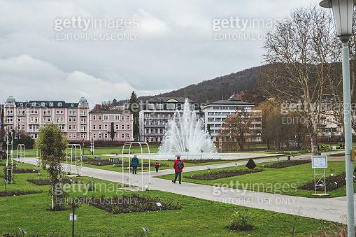 People walking in the Rose Garden in Bad Kissingen, Germany