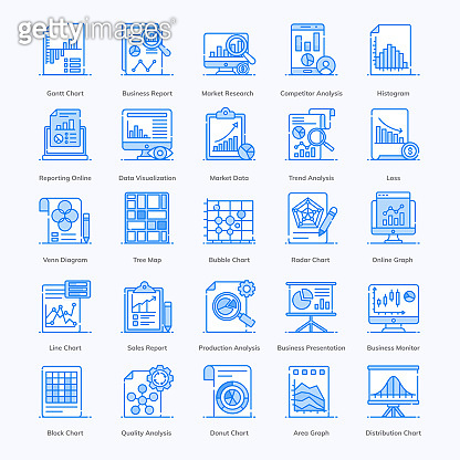 Pack Of Graphs flat Icons