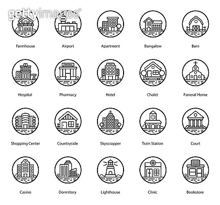 Buildings in Modern line Style Pack