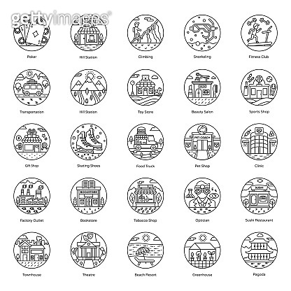 Pack Of Buildings line Icons