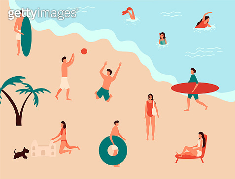 Sea swimming. Active people diving, swim with dog and surfing. Summer ocean swimming, enjoy tropical surfers or surf wave catch vacation vector illustration