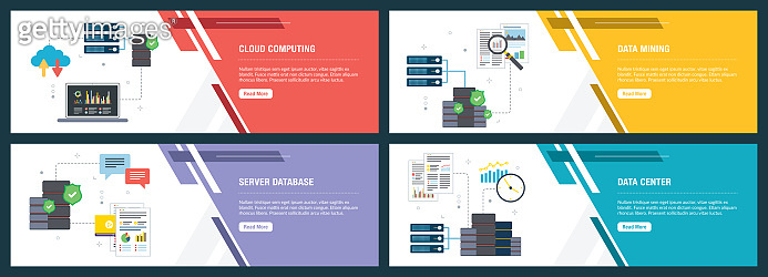 Set of banners with technology, computer and business icons in vector. Cloud Computing, data mining and data center.