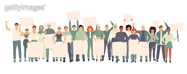 Group of people with banners protest. Flat cartoon colorful vector illustration