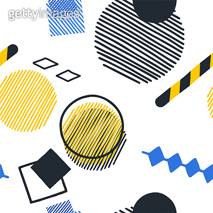 Abstract pattern of striped and outlined geometric figures in yellow, blue and dark gray colors