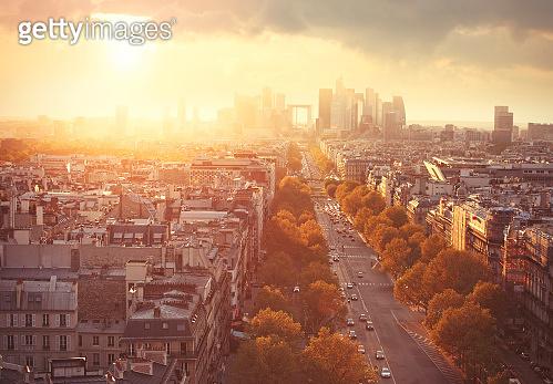 Avenue Charles de Gaulle and La Defense district in Paris