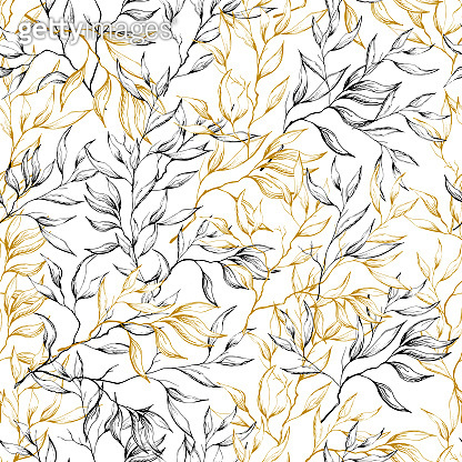 Vintage drawn leaves on a white background, seamless pattern for fabric. Vector native sketch, hand-drawn.