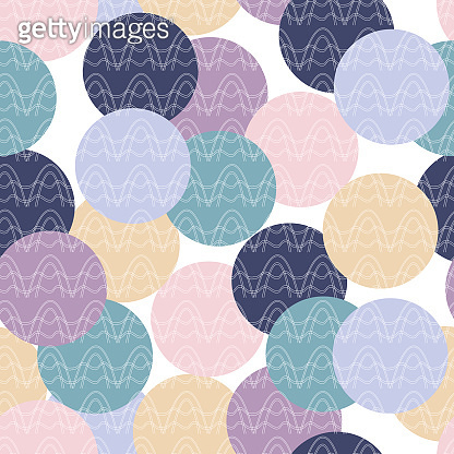 Abstract seamless oriental pattern. Multicolored circles on a white background, texture for fabric and paper