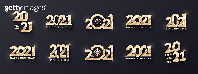 2021 Happy New Year Premium Golden Logo Vector Different 3D Text Design Templates Collection On Background. Variations Of Happy New Years Typographic Golden Metallic Design Elements
