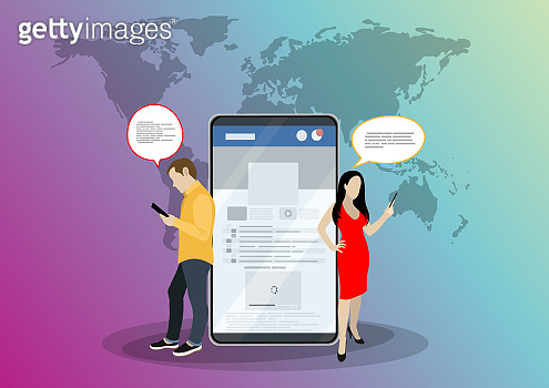 Social network web site surfing concept illustration of young people using mobile gadgets such as smartphone, tablet pc part of online community. Flat style. Vector illustration.