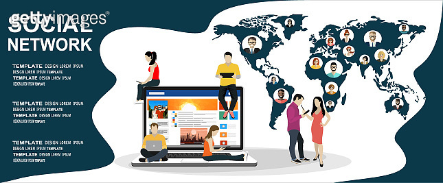 Social network web site surfing concept illustration of young people using mobile gadgets such as smartphone, tablet pc and laptop part of online community.Flat design illustration concept.
