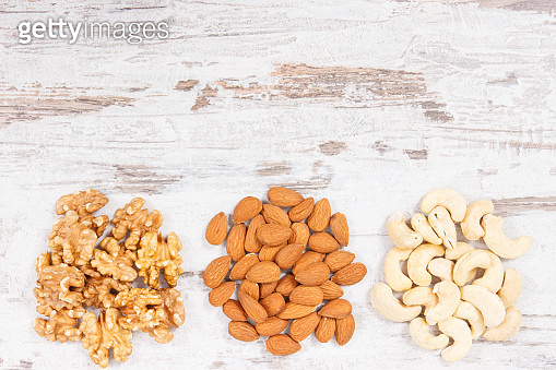 Various nuts and almonds as source minerals, vitamins and dietary fiber, copy space for text