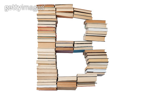 Letter - B made of books isolated on white background. Book letter font mockup from the alphabet. Concept of education. Nobody