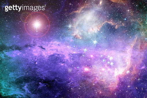 Magical surreal colorful space background with many stars Elements of this image furnished by NASA