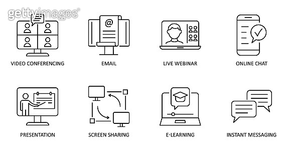 Vector online communication icons. Editable Stroke. Video conference, online chat, email, live webinar, instant messaging, online presentation, screen sharing, e-learning