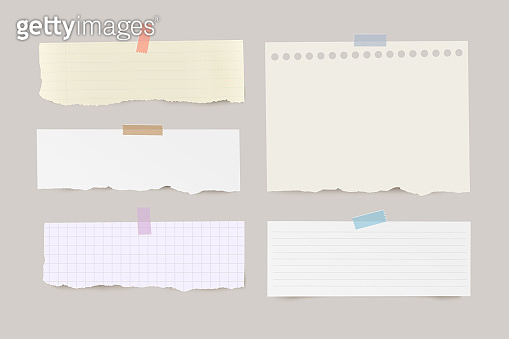 Set of torn horizontal different note papers with color adhesive tape on transparent background.