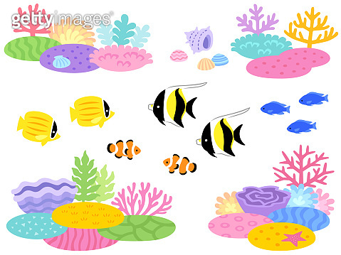 Illustration set of coral reef and tropical fish