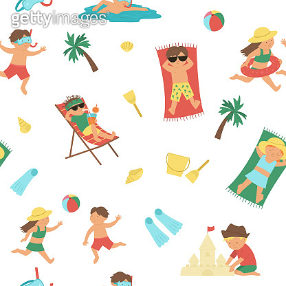 Vector summer seamless pattern with children doing summer activities. Repeat background with kids playing on the beach. Cute girls and boys swimming, playing ball, lying in the sun.