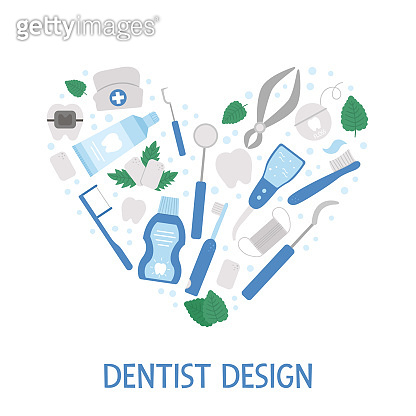 Vector frame with tooth care tools. Card template with elements for cleaning teeth. Dentistry equipment banner isolated on white background. Dentist icons framed in heart shape