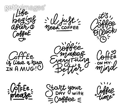 Coffee related hand drawn linear calligraphy quotes vector illustrations set.