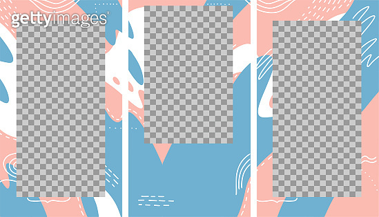 Design backgrounds for social media banner. Set of stories photo frame templates. Mock up for personal blog. Endless layout. Flat hand drawn vector illustration of 3 isolated puzzle collage.