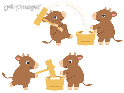 Illustration set of cows making rice cakes for the New Year of Ox in Japan