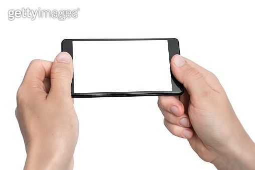 Mobile with blank white touch screen in hands of woman