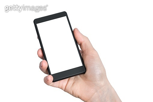 Mobile with blank white touch screen in hand of woman