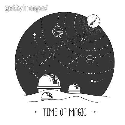 Modern magic witchcraft card with astrology observatory and outer space in the night sky