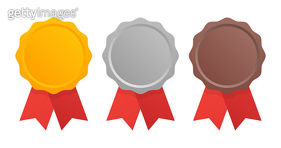 First, Second and Third place. Award Medals Set isolated on white with ribbons. Vector illustration