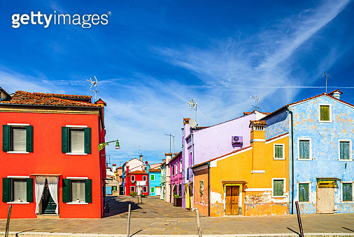 Burano island with colorful houses buildings
