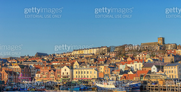 Scarborough harbour and town.