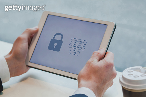 login and password on digital tablet computer, data protection