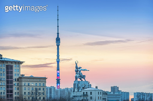 Ostankino Tower and Monument Worker and Collective Farm Girl