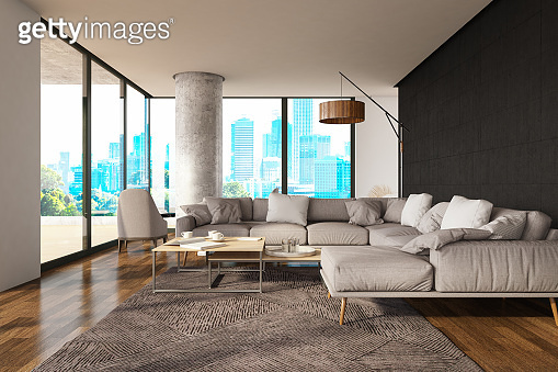 Modern Luxury Living Room With City View