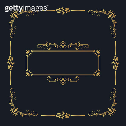 Hand drawn golden elegant squared frame with ornate borders and vintage corners. Vector isolated gold Victorian pattern. Classic wedding invitation template.