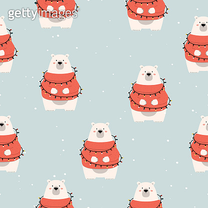 Merry christmas seamless pattern with polar bear in the xmas garland. Holiday texture for invitations. Vector isolated background for wrapping paper.