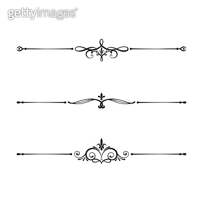 Vintage design borders set. Filigree dividers for wedding invitation cards. Vector isolated ornate royal elements.