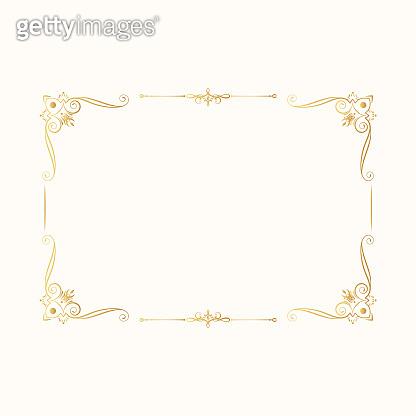 Hand drawn golden vintage rectangular frame. Royal border. Vector isolated gold vignette invitation. Classic wedding template with elegant elements.