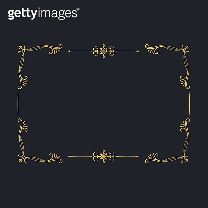 Golden ornate filigree border. Vintage royal frame with gold swirl decor elements. Royal wedding invitation card.