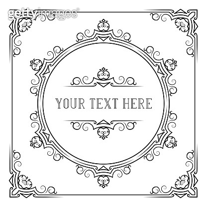 Victorian squared frame with royal borders and corners. Hand drawn classic wedding invitation template. Vector isolated elegant ornate design.