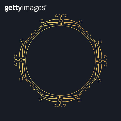 Ornate golden filigree frame. Vintage round border. Vector isolated gold swirl template. Royal wedding invitation card decor element.