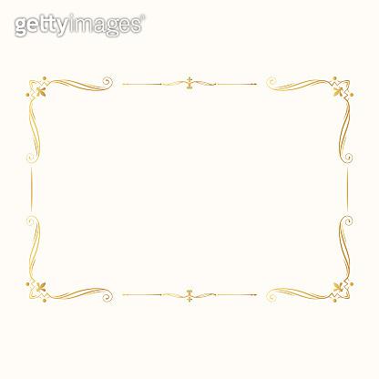 Hand drawn gold elegant rectangular frame. Vintage golden borders. Vector isolated classic wedding invitation template.