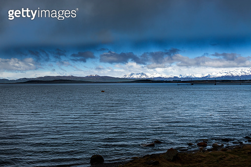View of the Beagle Channel from the port of the city of Ushuaia, in Terra del Fuego
