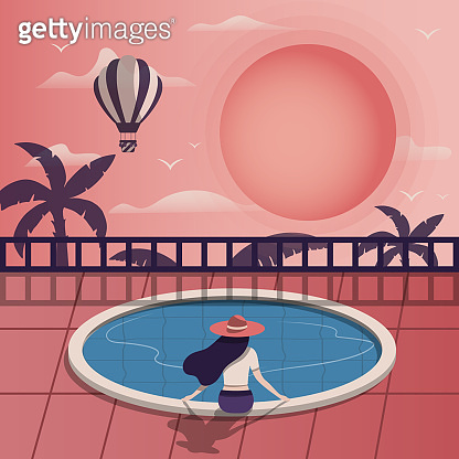 Hand drawn colorful tropical banner. Paradise border for invitation card. Vector isolated summer print with sun, hot air balloon, palm trees and girl sitting near the swimming pool.