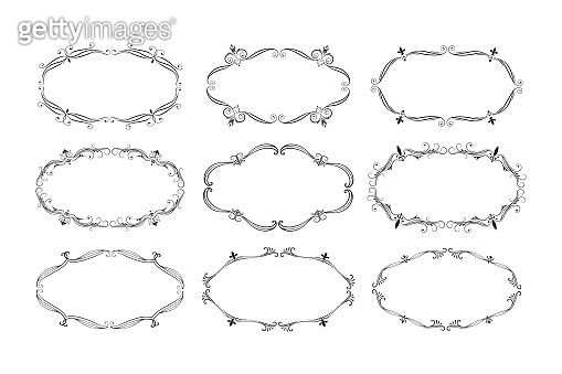 Hand drawn luxury oval frames set. Ornate royal borders. Vector isolated swirl banners. Classic wedding invitation templates.