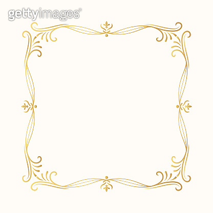 Calligraphic golden frame. Hand drawn vintage border. Vector isolated gold classic wedding invitation card decor.